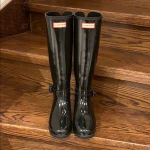 Hunter Tall Gloss Back Adjustable Refined Boots